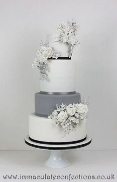 White Wedding Cakes White and Grey Floral Wedding Cake Wedding Cakes - Award Winning Cakes by Natalie Porter - Hertfordshire, London and Essex Wedding Cake Roses, Black Wedding Cakes, Floral Wedding Cakes, Amazing Wedding Cakes, Elegant Wedding Cakes, Wedding Cake Designs, Wedding Flowers, Wedding Grey, Black And White Wedding Cake
