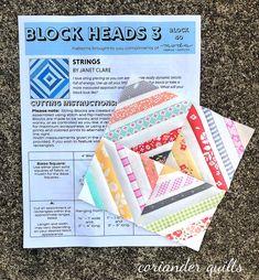 Moda Block Heads 3 - Block 40 Strings 4'', 6'', 8'' & 12'' Star Blocks, Quilt Blocks, Block Head, String Quilts, Pattern Blocks, Quilt Making