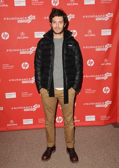 Bundled up, Adam Brody sports a Patagonia jacket to complete his casual winter look.