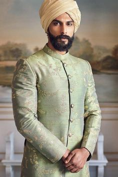 On Him: A hand-embroidered raw silk sherwani with house buttons and a chanderi safa. Sherwani For Men Wedding, Wedding Dresses Men Indian, Sherwani Groom, Mens Sherwani, Wedding Dress Men, Wedding Men, Wedding Suits, Punjabi Wedding, Wedding Ideas
