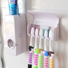 AutomaticToothpaste Dispenser toothbrush Holder wall suction hook Bathroom Hanging distributeur dentifrice Cup Tumbler HoldersAA #Affiliate