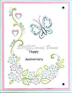 Floral Butterfly Embroidery Pattern for Greeting Cards por Darse
