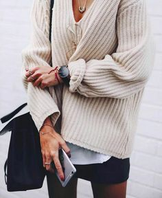 ribbed sweater + mini skirt