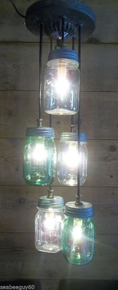 "Mason Jar Light Fixture-24""L-Ceiling Mount-Vintage Ice Cream Lid ~Steampunk"