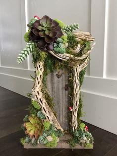 Fairy Door / Tinkerbell fairy house/ Wedding/cottage tinkerbell fairy/nurseryfairy garden, baby shower, fairy garden, succlents by Rusticredoo on Etsy https://www.etsy.com/listing/493528766/fairy-door-tinkerbell-fairy-house