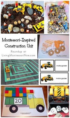Roundup post with lots of fun Montessori-inspired construction activities for preschoolers