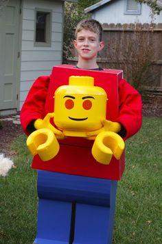 Project Denneler: Lego Man Costume/ Thankfully I have a very creative kid who can figure out how to do things I can't even imagine.