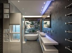 The modern bathroom interior design is not that much different from the other modern interior design Restroom Design, Modern Bathroom Design, Modern Interior Design, Bathroom Designs, Toilette Design, Diy Home Security, Architecture Art Design, Bathroom Toilets, Dream Bathrooms