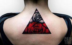 Triangle Rose Tattoo By Szymon Gdowicz - http://tattooideas22.com/triangle-rose-tattoo-szymon-gdowicz/