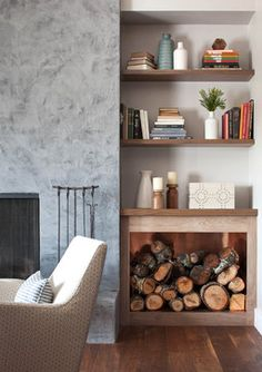 Firewood Storage Solutions - Chaos to Order - Chicago Professional Organizing Experts for Home and Office - Ranch House Remodel by Niche Interiors – Open shelving + wood box for a rustic & cozy design elem - Living Room Shelves, Living Room Storage, Home Living Room, Living Room Designs, Living Room Decor, Alcove Ideas Living Room, Log Burner Living Room, Kitchen Shelves, Kitchen Living