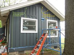 Install trim and then battens for board and batten siding install. Install trim and then battens for board and batten siding install. Mobile Home Siding, Mobile Home Exteriors, Clapboard Siding, House Siding, Cement Siding, Wood Siding, Barn Siding, White Trim, Home Design