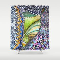 DESCRIPTION Customize your bathroom decor with unique shower curtains designed by artists around the world. Made from 100% polyester our designer shower curtains are printed in the USA and feature a 12 button-hole top for simple hanging. The easy care material allows for machine wash and dry maintenance. Curtain rod, shower curtain liner and hooks not included. Dimensions are 71in. by 74in. ABOUT THE ART Colorful; Spring; Abstract; Flowers; Nature; illustration;