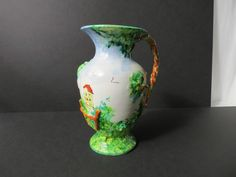 EXCEPTIONAL Vintage Italy Artisan Majolica Hand Painted Scenic Pottery Vase