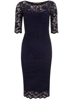 Jolie Moi Navy 3/4 Sleeve Lace Dress