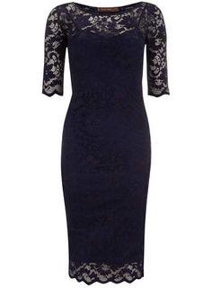 Jolie Moi Navy 3/4 Sleeve Lace Dress
