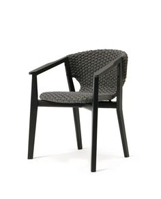 Knit collection from Ethimo Black Outdoor Furniture, Outside Furniture, Rattan Furniture, Furniture Design, Outdoor Dining Chairs, Dining Arm Chair, Dining Table, Single Chair, Chair Upholstery