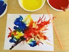 Pintando con popote tecnica de pintura Actividades para preescolar