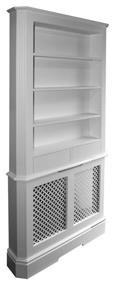 Radiator cover, clever to continue the structure to include bothe storage and… Built In Bookcase, Bookshelves, Radiator Shelf, Diy Radiator Cover, Radiator Ideas, Built In Grill, Outdoor Kitchen Design, My Living Room, Living Room Designs