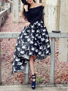 Shop Black Swan Off Shoulder High Low Maxi Dress from choies.com .Free shipping Worldwide.