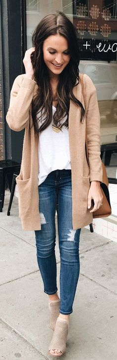 #winter #outfits /  Beige Cardigan / White Top / Ripped Skinny Jeans / Beige Suede Booties