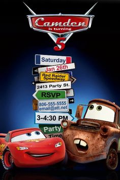 Disney Cars Birthday Invitation. $10.00, via Etsy.