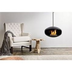 Cocoon Fires - aeris stainless steel hanging fireplace