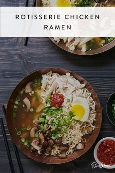 No longer the cheap microwave meal that sustained you on your college budget, ramen is all grown up. Our recipe for rotisserie chicken ramen doesn't call for fancy ingredients (hey, we use a precooked. Fall Soup Recipes, Ramen Recipes, Easy Dinner Recipes, Asian Recipes, Easy Meals, Cooking Recipes, Dinner Ideas, Cooking Food, Easy Cooking