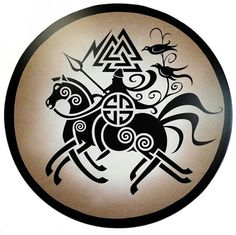 Allfather Odin riding Sleipnir.  Also features the Valknut, and Huginn and Muninn.
