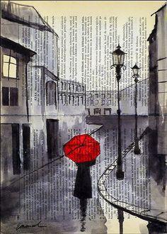 sketch of girl with umbrella - Поиск в Google