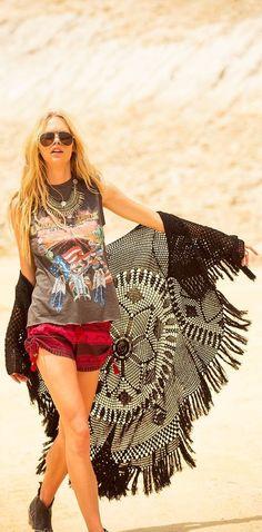 #summer #spellandthegypsycollective #outfits | Black Crochet Kimono + Graphic…