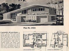 Beautiful Split Style Home Vintage House Plans, Modern House Plans, House Floor Plans, Sims Building, Building A House, Split Level House Plans, Mcm House, Googie, Mid Century House