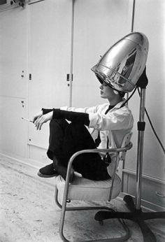 Audrey Hepburn under the dryer!