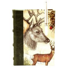 Leather-Bound Journal With Stag Watercolor Print Cover Leather Bound Journal, Unique Gifts, Handmade Gifts, Watercolor Print, Cow Leather, Moose Art, Cover, Journals, Vintage