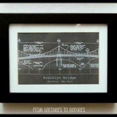 An architectural blueprint of brooklyn bridge gear pinterest blue print art restoration hardware hack malvernweather Images