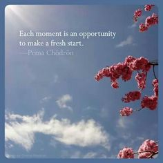 Each moment is an opportunity to make a fresh start.