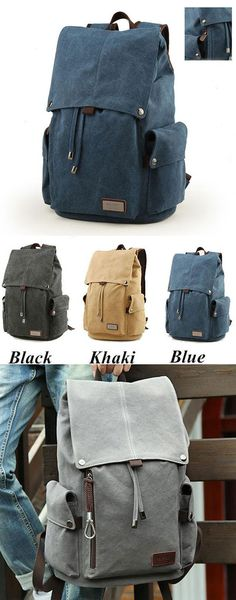 Which color do you like? Retro Large Men's Canvas Drawstring Travel Laptop School Bag Hiking Backpack #retro #school #bag #hiking #backpack #rucksack #travel
