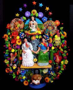 Trouvée par hasard sur le net cette photo d'un arbre de vie, art populaire mexicain,  ayant pour thème Frida Kahlo et ses œuvres.