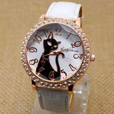 Lovely Black Crystal Cat Round Dial Quartz Women Watch
