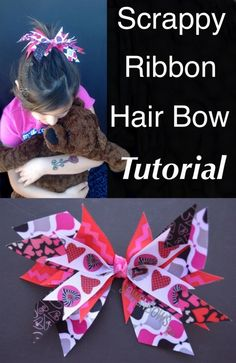 Scrappy Ribbon Hair Bow Tutorial- no bow folding skills required! Top your little girls Easter basket with this easy bow, then she can wear it all year! LOOK FOR RIBBONS N TULLE BOARD! Ribbon Hair Bows, Diy Hair Bows, Bow Hair Clips, Hair Ties, Ribbon Flower, Baby Band, Ribbon Crafts, Diy Crafts, Diy Ribbon