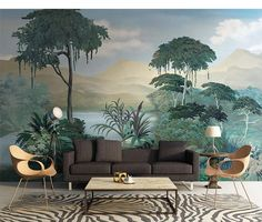 Dutch Oil Painting Scenic Forest Trees Wallpaper Wall Mural, Hand Painted Forest with Mountains Scenery Wall Mural,Forest Wall Decor Tree Wallpaper, Custom Wallpaper, Photo Wallpaper, Wallpaper Murals, Casa Milano, Open Wall, Cleaning Walls, Decoration Design, Make Design