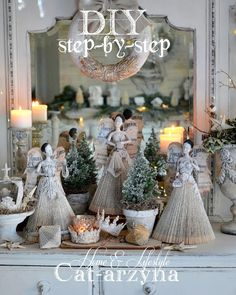 "DIY Santos Dolls by Cat-arzyna ""Angels of Dreams"" — [re]design with Prima Folded Book Art, Book Folding, Paper Dolls, Art Dolls, Clay Dolls, Christmas Crafts, Christmas Decorations, French Christmas, Christmas Paper"