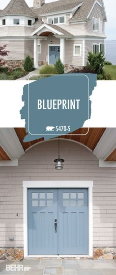 Behr 2019 Color of the Year, Blueprint—adds a classic coastal style to the exterior of this house Behr Exterior Paint Colors, Behr Paint Colors, Front Door Paint Colors, Exterior Front Doors, Exterior Paint Colors For House, Painted Front Doors, Front Door Design, Paint Colors For Home, Blue Front Doors