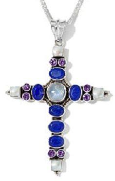 Nicky Butler Silver Moonstone, Gemstone Cross Pendant