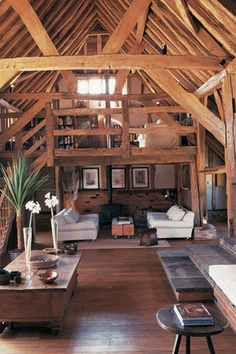 Dom Jaworzno: A Modern Living Place with Elegant Interior Design and Colorful Style Barn Loft Apartment, Cabin Loft, Country Interior Design, Barn Living, Living Room, Living Place, Barn Renovation, Log Homes, Cabana