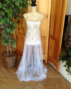 Honey Kaboo Sheer White Lace And Tulle By Honeycouture 64 00 Wedding Dresseslace