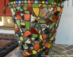 A Beautiful Mosaic Planter for the Front Porch