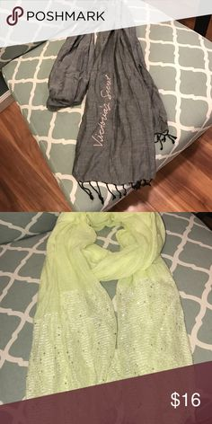 Victoria secret scarf and neon(ish) yellow scarf Both scarves great condition.... selling together Accessories Scarves & Wraps