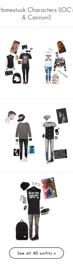 """""""Homestuck Characters ((OC's & Cannon))"""" by donut-boi on Polyvore featuring Ray-Ban, Lilly Pulitzer, H&M, Anya Hindmarch, Forever 21, Happy Plugs, Converse, Topshop, Private Party and Topman"""