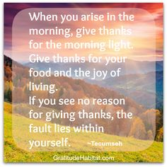 When you arise in the morning, give thanks. www.GratitudeHabitat.com