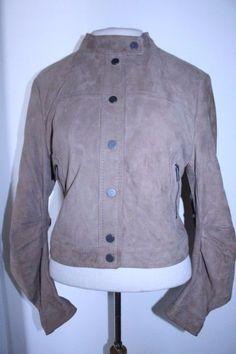 BCBG MaxAzria Coat L Brown Tan Gravel Suede Leather Cropped Moto Jacket #BCBGMAXAZRIA #BasicJacket